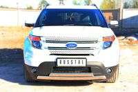 Защита переднего бампера  75х42 / 75х42 овал (дуга) для Ford Explorer (2012 -) FEZ-001311