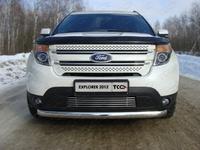 Защита передняя (овальная  короткая) 75х42 мм для Ford Explorer (2012 -) FOREXPL12-01
