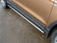 Пороги овальные с проступью 75х42 мм для Ford Kuga (2013 -) FORKUG13-07