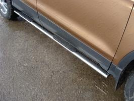 Пороги овальные с накладкой 75х42 мм для Ford Kuga (2013 -) FORKUG13-12