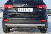 Защита заднего бампера 75х42 овал для Hyundai Santa Fe (2012 -) HSFZ-001227