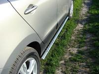 Пороги овальные с проступью 75x42 мм для Hyundai IX35 (2010 -) HYUNIX35-04