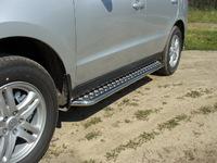Пороги с площадкой 42,4 мм для Hyundai Santa Fe (2010 -) HYUNSF10-03