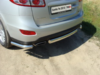 Защита задняя (центральная овальная) 75х42 мм для Hyundai Santa Fe (2010 -) HYUNSF10-08