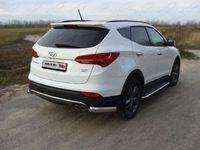 Защита задняя (уголки) 75х42 мм для Hyundai Santa Fe (2012 -) HYUNSF12-11