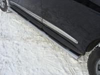 Пороги овальные с накладкой 120х60 мм для Infiniti JX 35 (2013 -) INFJX3513-06