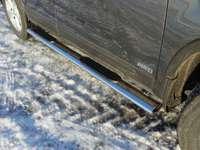 Пороги овальные с накладкой 120х60 мм для Kia Sorento (2012 -) KIASOR12-04