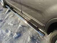 Пороги овальные с накладкой 75х42 мм для Kia Sorento (2012 -) KIASOR12-06