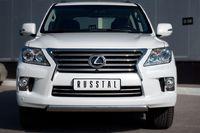 Защита переднего бампера d75х42 овал (короткая) для Lexus LX570 (2012 -) LLXZ-000863