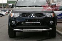 Защита переднего бампера d76 (c накладкой) для Mitsubishi L-200 (2006 -) MITL.48.0441