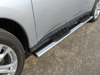 Пороги овальные с накладкой 120х60 мм для Mitsubishi Outlander (2012 -) MITOUT12-05