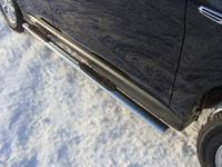 Пороги овальные с накладкой 75х42 мм для Mitsubishi ASX (2013 -) MITSASX13-06