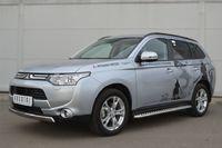 Защита переднего бампера d75х42 овал(дуга) для Mitsubishi  Outlander (2012 -) MRZ-001051