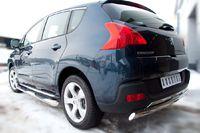 Защита заднего бампера d75х42 овал (дуга) для Peugeot 3008 (2009 -) P38Z-000432