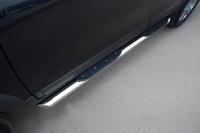 Пороги труба d76 с накладками (вариант 1) для Peugeot 4007 (2007 -) P4T-000307/1