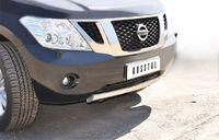 Защита переднего бампера d75х42 (дуга) для Nissan Patrol (2010 -) PAZ-000786