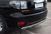 Защита заднего бампера d75х42 овал (дуга) для Nissan Patrol (2010 -) PAZ-000895