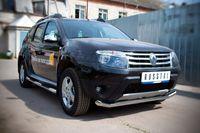 Защита переднего бампера d63L длинная для Renault Duster (2012 -) RD4Z-000447