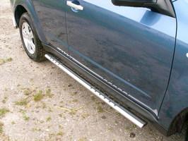 Пороги овальные с проступью 75x42 для Subaru Forester (2008 -) SUBFOR09-03