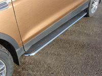 Пороги с площадкой (нерж. лист) 42,4 мм для Subaru Forester (2013 -) SUBFOR13-11