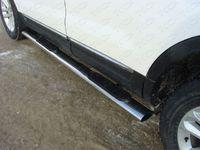 Пороги овальные с накладкой 75х42 мм для Subaru Outback (2010 -) SUBOUT10-07