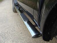 Пороги овальные с накладкой 120х60 мм для Toyota Hilux (2011 -) TOYHILUX12-05