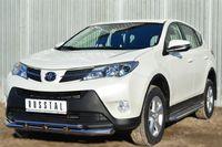 Защита переднего бампера d63 (секции) d42 (дуга) с декор элементами для Toyota RAV4 (2013 -) TR4Z-001280