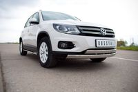 Защита переднего бампера d75х42/75x42 овал для Volkswagen Tiguan (Track&Field, Track&Style) (2011 -) VGZ-000492