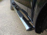 Пороги овальные с накладкой 120х60 мм для Volkswagen Amarok (2010 -) VWAMAR10-07