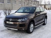 Защита передняя нижняя (овальная) 75х42 мм для Volkswagen Touareg (2010 -) VWTOUAR10-06