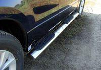 Пороги овальные с накладкой 120х60 мм для Volkswagen Touareg (2010 -) VWTOUAR10-09
